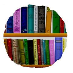 Shelf Books Library Reading Large 18  Premium Flano Round Cushions