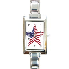 A Star With An American Flag Pattern Rectangle Italian Charm Watch