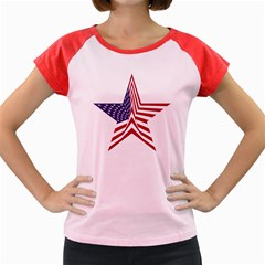 A Star With An American Flag Pattern Women s Cap Sleeve T Shirt