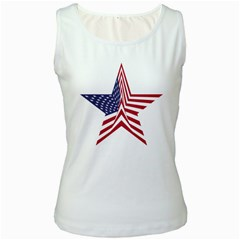 A Star With An American Flag Pattern Women s White Tank Top
