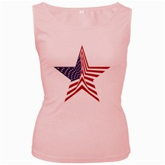 A Star With An American Flag Pattern Women s Pink Tank Top