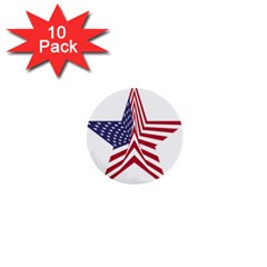 A Star With An American Flag Pattern 1  Mini Buttons (10 Pack)