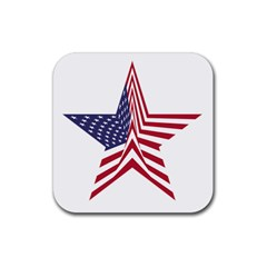 A Star With An American Flag Pattern Rubber Square Coaster (4 Pack)  by Nexatart