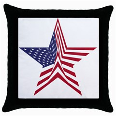 A Star With An American Flag Pattern Throw Pillow Case (black)