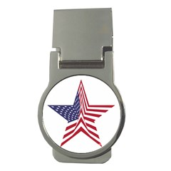 A Star With An American Flag Pattern Money Clips (round)