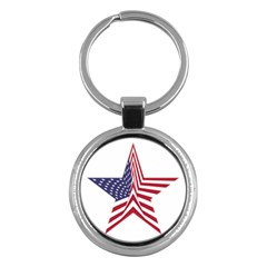 A Star With An American Flag Pattern Key Chains (round)