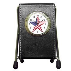 A Star With An American Flag Pattern Pen Holder Desk Clocks by Nexatart
