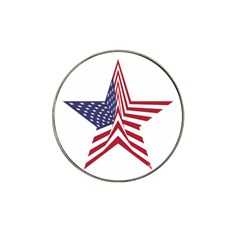 A Star With An American Flag Pattern Hat Clip Ball Marker (10 Pack)