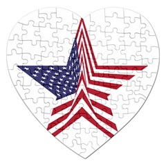 A Star With An American Flag Pattern Jigsaw Puzzle (heart)