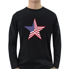 A Star With An American Flag Pattern Long Sleeve Dark T Shirts