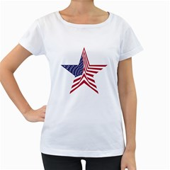 A Star With An American Flag Pattern Women s Loose Fit T Shirt (white)