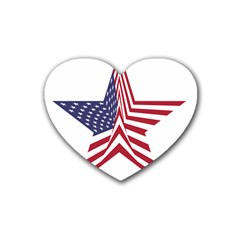 A Star With An American Flag Pattern Heart Coaster (4 Pack)