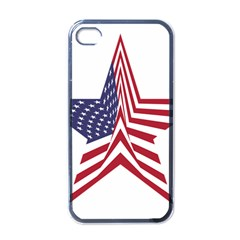A Star With An American Flag Pattern Apple Iphone 4 Case (black)