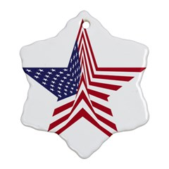 A Star With An American Flag Pattern Ornament (snowflake)
