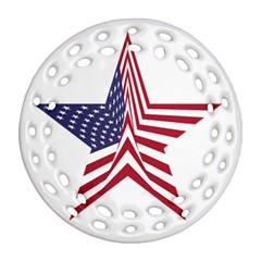 A Star With An American Flag Pattern Round Filigree Ornament (two Sides)