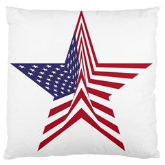 A Star With An American Flag Pattern Large Cushion Case (two Sides)