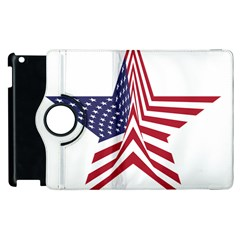 A Star With An American Flag Pattern Apple Ipad 3/4 Flip 360 Case