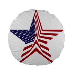 A Star With An American Flag Pattern Standard 15  Premium Round Cushions