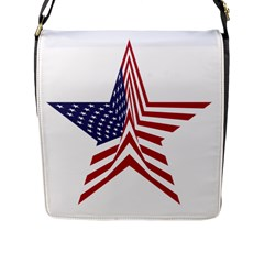 A Star With An American Flag Pattern Flap Messenger Bag (l)