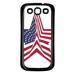 A Star With An American Flag Pattern Samsung Galaxy S3 Back Case (black)