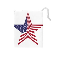 A Star With An American Flag Pattern Drawstring Pouches (medium)