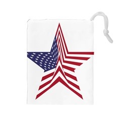 A Star With An American Flag Pattern Drawstring Pouches (large)