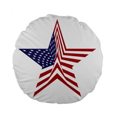 A Star With An American Flag Pattern Standard 15  Premium Flano Round Cushions by Nexatart