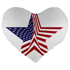 A Star With An American Flag Pattern Large 19  Premium Flano Heart Shape Cushions