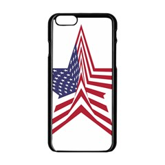 A Star With An American Flag Pattern Apple Iphone 6/6s Black Enamel Case