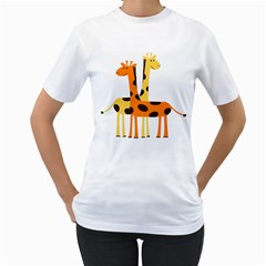 Giraffe Africa Safari Wildlife Women s T Shirt (white) (two Sided)