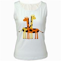 Giraffe Africa Safari Wildlife Women s White Tank Top