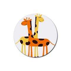 Giraffe Africa Safari Wildlife Rubber Coaster (round)