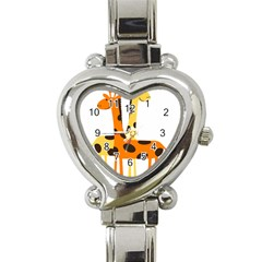 Giraffe Africa Safari Wildlife Heart Italian Charm Watch
