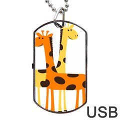 Giraffe Africa Safari Wildlife Dog Tag Usb Flash (two Sides)
