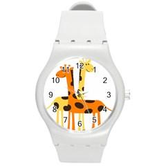 Giraffe Africa Safari Wildlife Round Plastic Sport Watch (m)