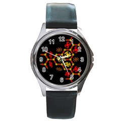 Algorithmic Drawings Round Metal Watch