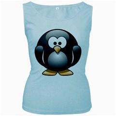 Penguin Birds Aquatic Flightless Women s Baby Blue Tank Top