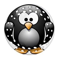 Penguin Birds Aquatic Flightless Round Filigree Ornament (two Sides)