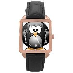 Penguin Birds Aquatic Flightless Rose Gold Leather Watch