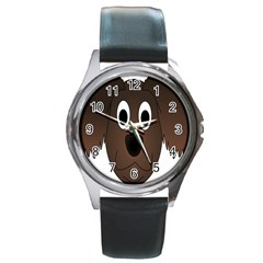 Dog Pup Animal Canine Brown Pet Round Metal Watch
