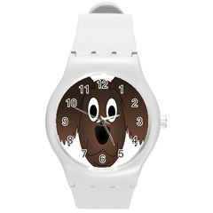 Dog Pup Animal Canine Brown Pet Round Plastic Sport Watch (m)
