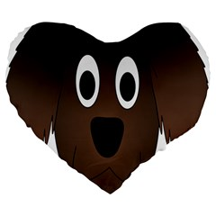 Dog Pup Animal Canine Brown Pet Large 19  Premium Heart Shape Cushions