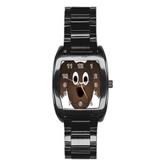 Dog Pup Animal Canine Brown Pet Stainless Steel Barrel Watch