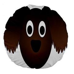 Dog Pup Animal Canine Brown Pet Large 18  Premium Flano Round Cushions