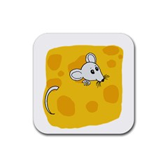 Rat Mouse Cheese Animal Mammal Rubber Square Coaster (4 Pack)