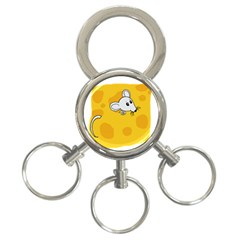 Rat Mouse Cheese Animal Mammal 3 Ring Key Chains