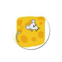 Rat Mouse Cheese Animal Mammal Magnet 3  (round) by Nexatart