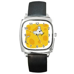 Rat Mouse Cheese Animal Mammal Square Metal Watch
