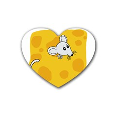 Rat Mouse Cheese Animal Mammal Heart Coaster (4 Pack)