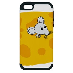 Rat Mouse Cheese Animal Mammal Apple Iphone 5 Hardshell Case (pc+silicone)